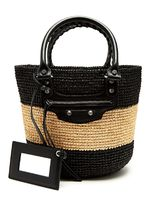 BALENCIAGA CITY Stripes Casual Style Plain Leather Straw Bags
