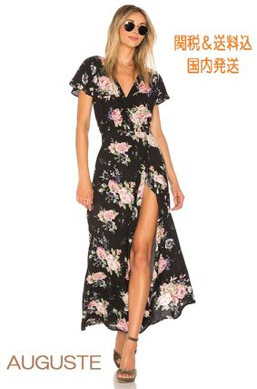 Flower Patterns Casual Style Maxi Long Short Sleeves Dresses