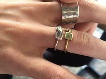 Silver, Brass Ethnic Taste Square & Swell Eddy Cut Out Ring