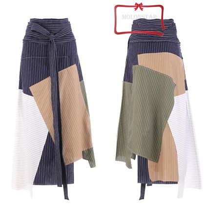Stripes Casual Style Cotton Skirts