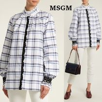 MSGM Other Check Patterns Cotton Medium Puff Sleeves