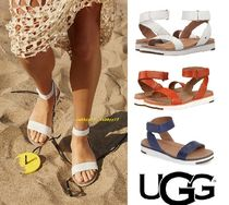 UGG Australia Open Toe Platform Casual Style Street Style Plain Leather