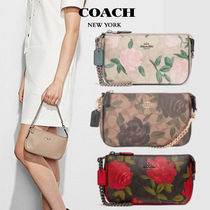 Coach Flower Patterns Vanity Bags Leather Handbags