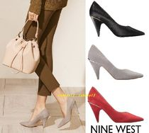Nine West Street Style Plain Leather Office Style Chunky Heels