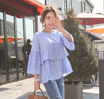 Short Stripes Casual Style Street Style Puff Sleeves Cropped