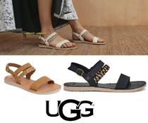 UGG Australia Open Toe Casual Style Street Style Plain Leather