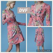 DIANE von FURSTENBERG Wrap Dresses Silk Long Sleeves Dresses