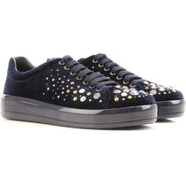 PRADA Round Toe Rubber Sole Lace-up Velvet With Jewels
