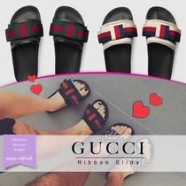 GUCCI Stripes Open Toe Casual Style Street Style Leather