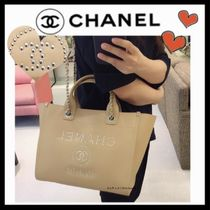 CHANEL DEAUVILLE Casual Style Calfskin Studded A4 2WAY Plain Totes