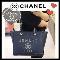CHANEL Casual Style Unisex Calfskin Studded A4 2WAY Plain Totes
