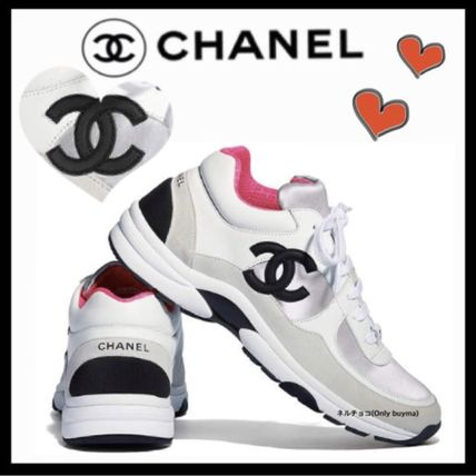 Casual Style Bi-color Leather Low-Top Sneakers