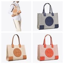 Tory Burch ELLA TOTE Casual Style Canvas A4 Plain Totes