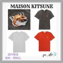 MAISON KITSUNE Crew Neck Plain Other Animal Patterns Cotton Short Sleeves
