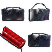 Christian Louboutin Panettone  Stripes Studded Plain Leather Handmade Long Wallets