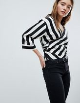 Bershka Stripes Cropped Medium Elegant Style Shirts & Blouses