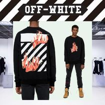 Off-White Crew Neck Pullovers Stripes Long Sleeves Cotton Sweatshirts