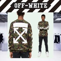 Off-White Crew Neck Pullovers Camouflage Long Sleeves Cotton Oversized