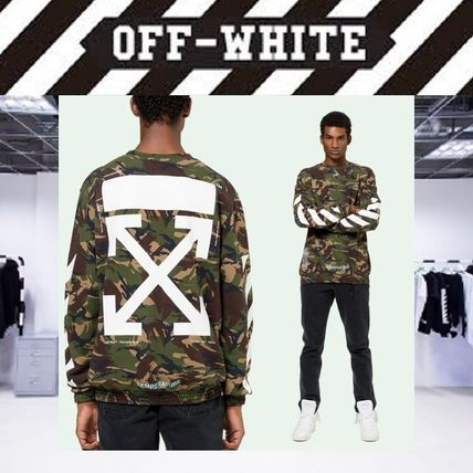 Off-White Sweatshirts Crew Neck Pullovers Camouflage Long Sleeves Cotton Oversized
