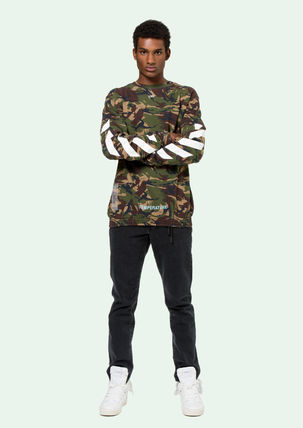 Off-White Sweatshirts Crew Neck Pullovers Camouflage Long Sleeves Cotton Oversized 2