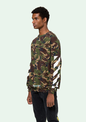 Off-White Sweatshirts Crew Neck Pullovers Camouflage Long Sleeves Cotton Oversized 3