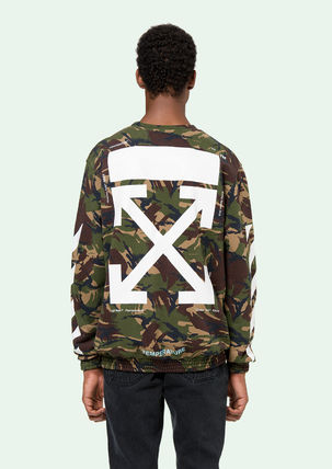 Off-White Sweatshirts Crew Neck Pullovers Camouflage Long Sleeves Cotton Oversized 4