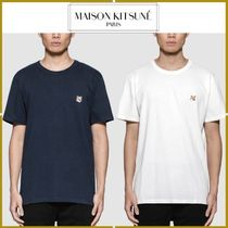 MAISON KITSUNE Crew Neck Pullovers Plain Other Animal Patterns Cotton