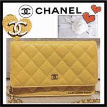 CHANEL CHAIN WALLET Casual Style Calfskin 2WAY Plain Shoulder Bags