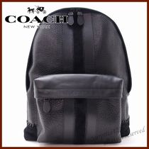 Coach Stripes A4 Plain Leather Backpacks