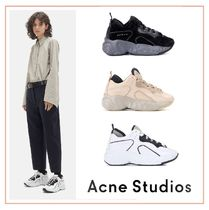 Acne Platform Round Toe Lace-up Casual Style Blended Fabrics