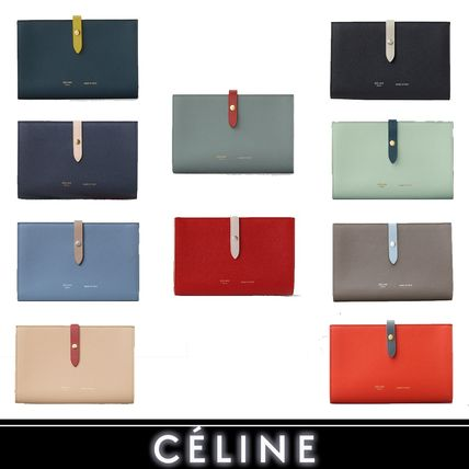Unisex Calfskin Bi-color Plain Folding Wallets