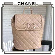 CHANEL MATELASSE Calfskin Chain Plain Elegant Style Backpacks
