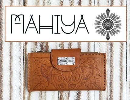 Flower Patterns Unisex Plain Leather Handmade Long Wallets