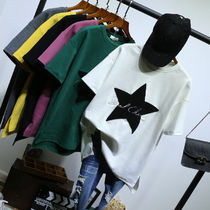 Star Casual Style U-Neck Cotton Long Short Sleeves T-Shirts