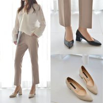 Faux Fur Plain Block Heels Office Style