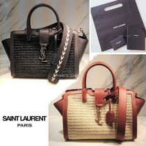 Saint Laurent DOWNTOWN Blended Fabrics 2WAY Leather Straw Bags