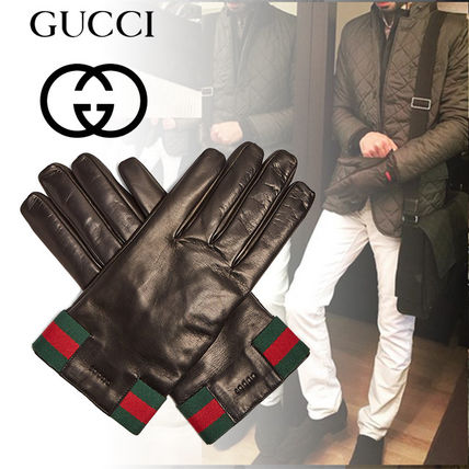 Stripes Plain Leather Leather & Faux Leather Gloves