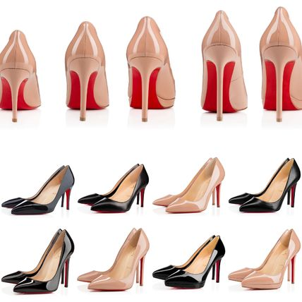 5b54bfab2b55 ... Christian Louboutin Pointed Toe Leather Pin Heels Elegant Style Pointed  Toe Pumps   Mules ...