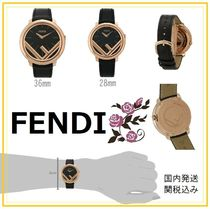FENDI RUNAWAY Unisex Round Quartz Watches 18K Gold Elegant Style