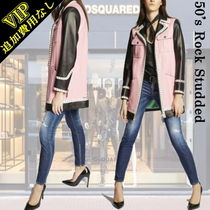 D SQUARED2 Short Casual Style Studded Plain Leather Biker Jackets