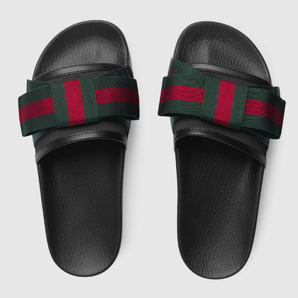 64f1b4bb5ebef8 ... GUCCI Flat Stripes Rubber Sole Casual Style Shower Shoes Flat Sandals 2  ...