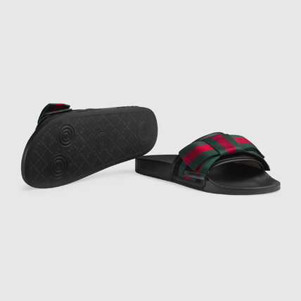 6e1a826b83759f ... GUCCI Flat Stripes Rubber Sole Casual Style Shower Shoes Flat Sandals 4  ...