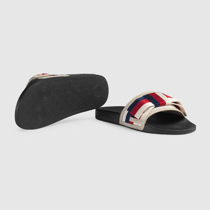 141b31b8051872 ... GUCCI Flat Stripes Rubber Sole Casual Style Shower Shoes Flat Sandals  10 ...