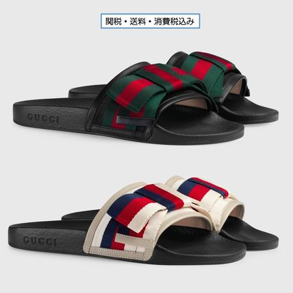 d38fc6f3b788a7 ... GUCCI Flat Stripes Rubber Sole Casual Style Shower Shoes Flat Sandals  ...