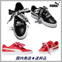 PUMA BASKET HEART Rubber Sole Casual Style Leather Low-Top Sneakers