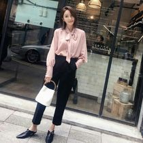 Short Long Sleeves Plain Office Style Cropped