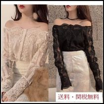 Flower Patterns Lace-up Long Sleeves Plain Medium Lace