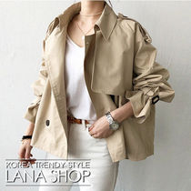 NANING9 Short Casual Style Plain Trench Coats