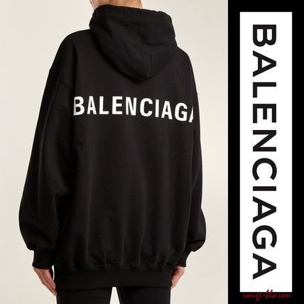 BALENCIAGA Hoodies Unisex Street Style Long Sleeves Plain Cotton Oversized