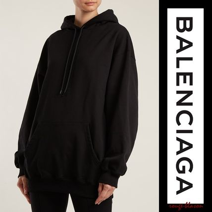 BALENCIAGA Hoodies Unisex Street Style Long Sleeves Plain Cotton Oversized 2